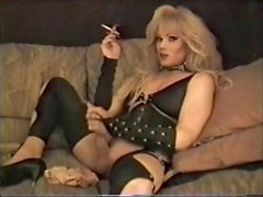 Cool blonde tranny smokes masturbates