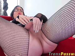 Busty amazing tranny Wendy stuffs her asshole with a sex toy