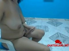 Busty Latina Tranny Blows Herself