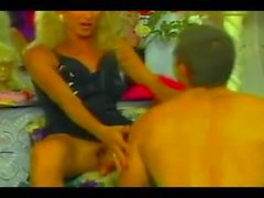 Hot Blonde Shemale dominates