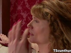 Classy dominant TS creampies servant after bj