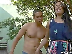 Big tits tranny Bruna Souza gives blowjob and ass railed