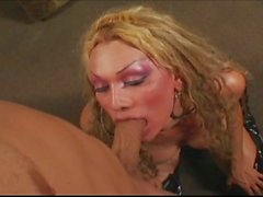 Hot blonde t-girl fucked hard