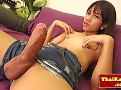 Thai tgirl in stockings plays with self