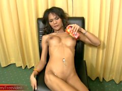 Slim dark hair ladyboy strips off girly dress and cums hard