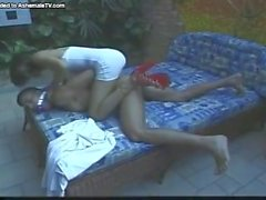 Blonde girl and shemale with big dick bang