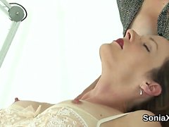 Adulterous british milf lady sonia pops out her massive knoc