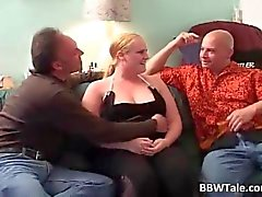 Chubby blond bitch with big juggs blows