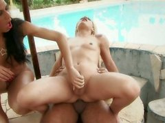 Stunning shemales have a threesome by the pool