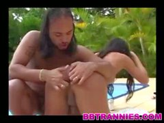 Brunette transsexual stuffed by the pool