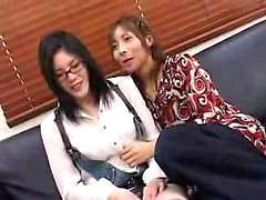 Nerdy Japanese girl has a cute shemale drilling her tight h