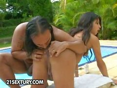 Poolside surprise for a brunette tranny babe