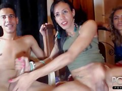 Threesome webcam handjob shemales & guy