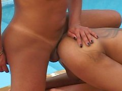 Latin blonde tranny btich fucks by the pool