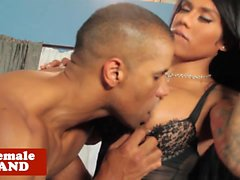Prettyface tgirl assfucked by black hunk