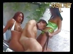 Poolside fetish threesome