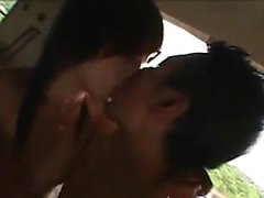 Beautiful Japanese shemale exchanging hot blowjobs with a h