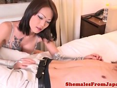 Japanese ladyboy dominates dude with anal