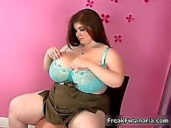 Fat girl gets horny rubbing her gigantic