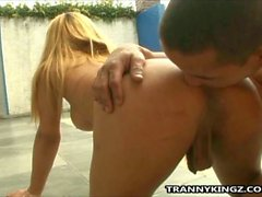 Blonde tranny gets barebacked by the pool