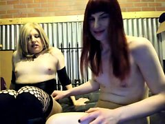 Shemale with big tits gets a handjob