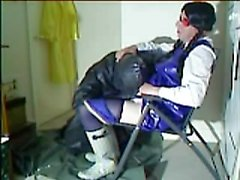 Rubber cissy slut being attended to by rubber master who is myself.