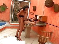 Two shemales have passionate sex poolside