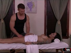 Latin Ts Foxxy has her massage turning into doggystyle anal