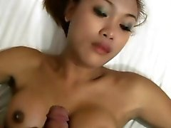 Pretty ladyboy sucks cock in POV and enjoys titty fucking