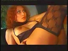 Redhead TS in stockings gets anal stuffing