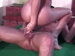 Sexy TS fucked on pool table
