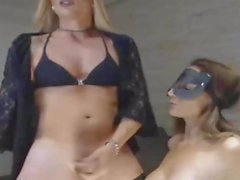Busty Babe Sucking on Hot Blonde Shemale Cock
