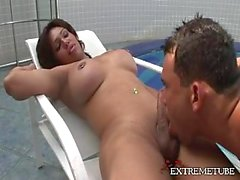 Poolside pastime with a swell Tgirl
