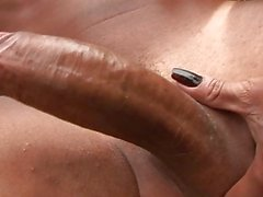 Sexy dark haired trannie plays with her big pecker outdoor