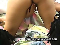 Sexy brunette shemale Violeta needs some wet pussy today.