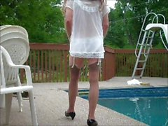 cumming in sheer nightie by pool