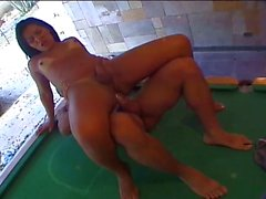 Sexy latin shemale gets balled on the pool table