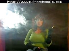 Busty CD Smokes And Jerks Off