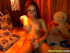 Asian big cock busty shemale jerking her huge hard dick so