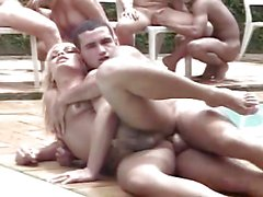 Transexual orgy on the pool 1 de 2