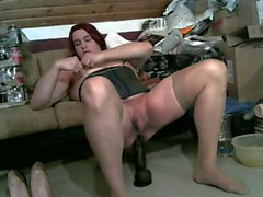 taking my big dildo in my new red haired wig