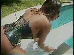 Ebony shemale banged by pool
