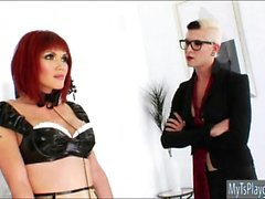 Redhead TS Evalin in maid outfit gets dominated and analed