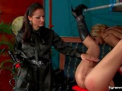 Sissy guy and mistress dominate submissive girl