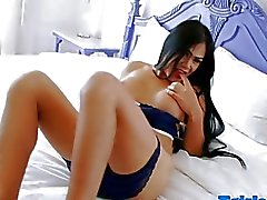 Booby tranny showing her scrotum and masturbates in solo