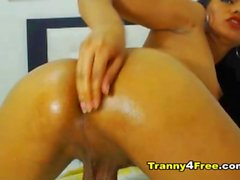 Oiled Up Tranny Anal Fingering Pleasure