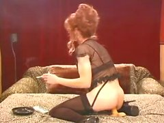 Hot lingeried crossdresser likes smoking