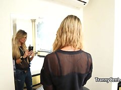 Sexy lingerie tranny behind the scenes