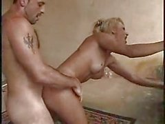 Spectacular ramming with blonde tranny on balcony