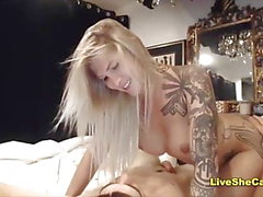 Sexy blonde shemale and guy anal sex webcam